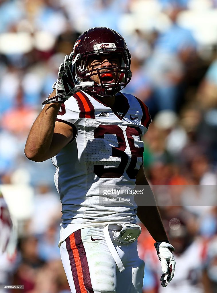 Chase Williams #36 of the Virginia Tech Hokies reacts after a play against the North Carolina Tar Heels during their game at Kenan Stadium on October 4, 2014 in Chapel Hill, North Carolina.
