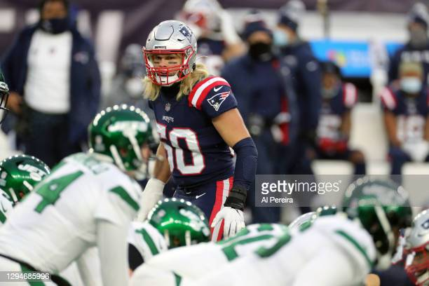 Chase Winovich of the New England Patriots follows the play against the New York Jets at Gillette Stadium on January 3, 2021 in Foxborough,...