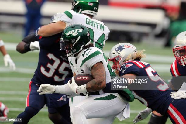 Chase Winovich of the New England Patriots makes a stop against the New York Jets at Gillette Stadium on January 3, 2021 in Foxborough, Massachusetts.