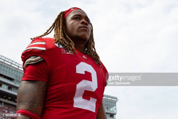 Chase Young of the Ohio State Buckeyes after a game between the Ohio State Buckeyes and the Florida Atlantic Owls on August 31 at Ohio Stadium in...