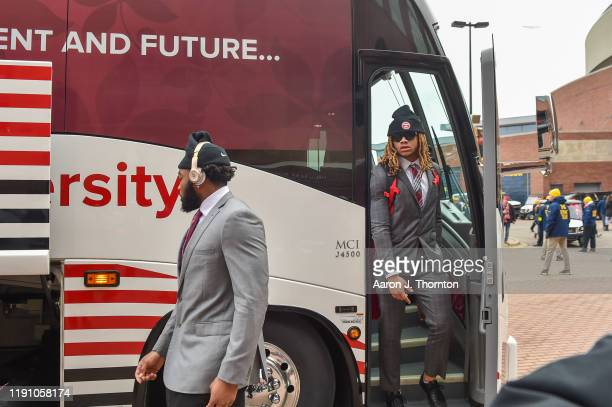 Chase Young of the Ohio State Buckeyes arrives before a college football game against the Michigan Wolverines at Michigan Stadium on November 30 2019...