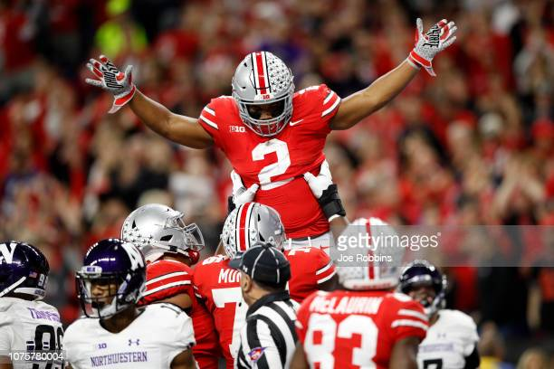 Chase Young of the Ohio State Buckeyes celebrates after a defensive play in the game against the Northwestern Wildcats in the first quarter at Lucas...