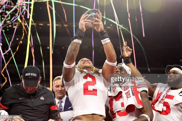 Chase Young of the Ohio State Buckeyes celebrates after winning the Big Ten Championship game against the Wisconsin Badgers at Lucas Oil Stadium on...