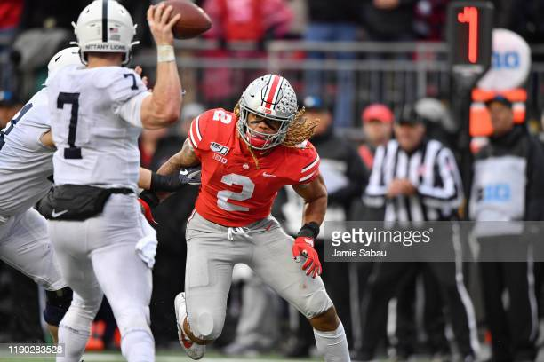 Chase Young of the Ohio State Buckeyes chases down the ballcarrier against the Penn State Nittany Lions at Ohio Stadium on November 23 2019 in...