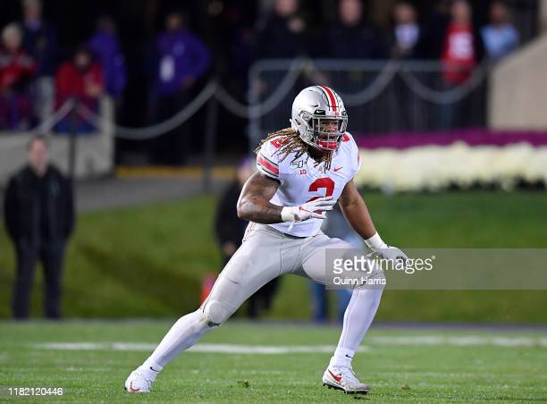 Chase Young of the Ohio State Buckeyes looks to rush the quarterback against the Northwestern Wildcats at Ryan Field on October 18 2019 in Evanston...