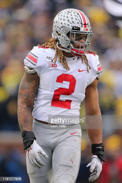 Chase Young of the Ohio State Buckeyes looks to the sidelines during the third quarter of the game against the Michigan Wolverines at Michigan...