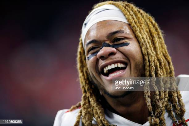 Chase Young of the Ohio State Buckeyes reacts in the fourth quarter against the Wisconsin Badgers during the Big Ten Football Championship at Lucas...