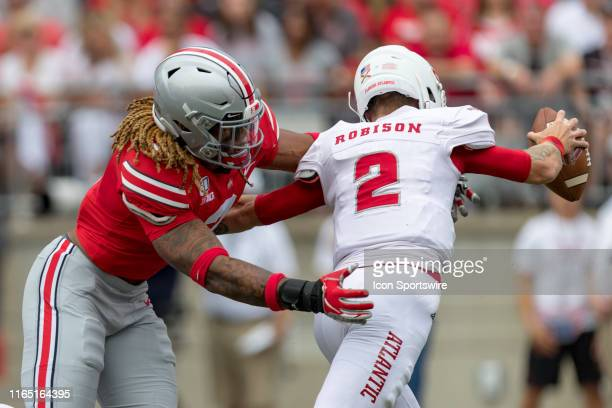 Chase Young of the Ohio State Buckeyes sacks Chris Robison of the Florida Atlantic Owls during game action between the Ohio State Buckeyes and the...