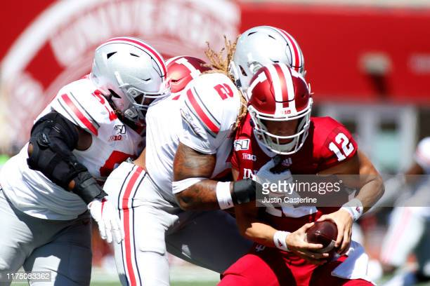 Chase Young of the Ohio State Buckeyes sacks Peyton Ramsey of the Indiana Hoosiers at Memorial Stadium on September 14 2019 in Bloomington Indiana