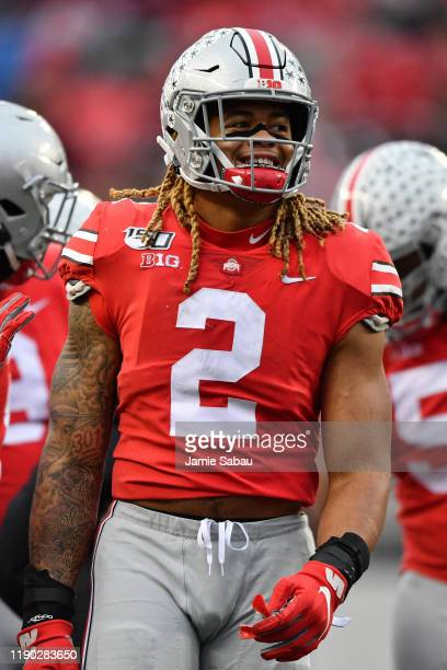 Chase Young of the Ohio State Buckeyes smiles during game against the Penn State Nittany Lions at Ohio Stadium on November 23 2019 in Columbus Ohio