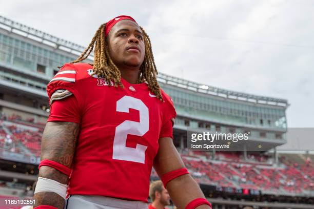 Chase Young of the Ohio State Buckeyes walks off the field after a game between the Ohio State Buckeyes and the Florida Atlantic Owls on August 31 at...