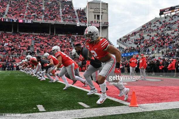 Chase Young of the Ohio State Buckeyes warms up before a game against the Penn State Nittany Lions at Ohio Stadium on November 23 2019 in Columbus...