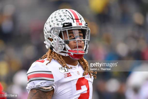 Chase Young the Ohio State Buckeyes looks on during the first half of a college football game against the Michigan Wolverines at Michigan Stadium on...