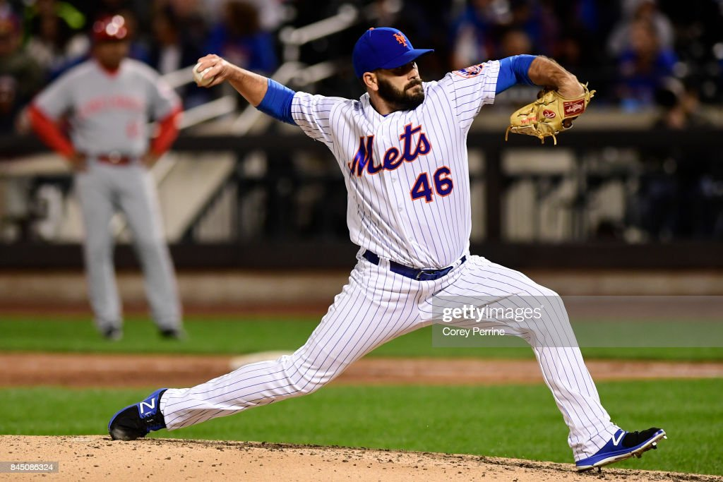 Chasen Bradford #46 of the New York Mets pitches against the Cincinnati Reds during the sixth inning at Citi Field on September 9, 2017 in the Flushing neighborhood of the Queens borough of New York City. The Mets won 6-1.