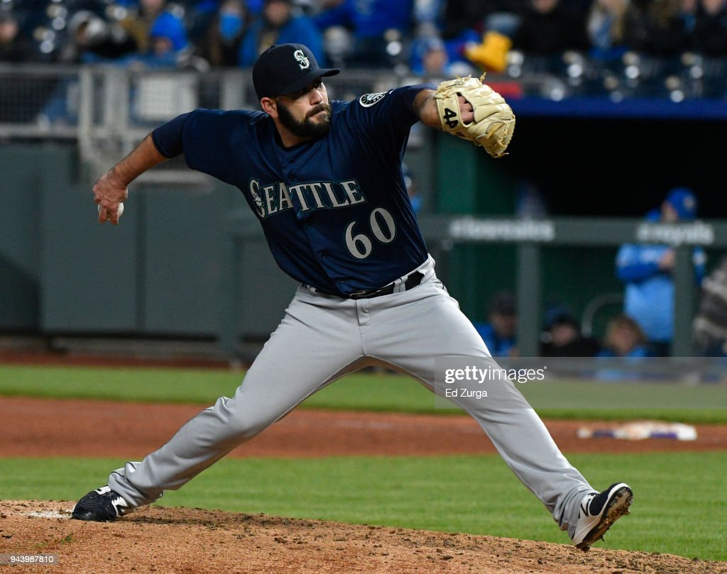 Chasen Bradford #60 of the Seattle Mariners throws in the sixth inning against the Kansas City Royals at Kauffman Stadium on April 9, 2018 in Kansas City, Missouri.