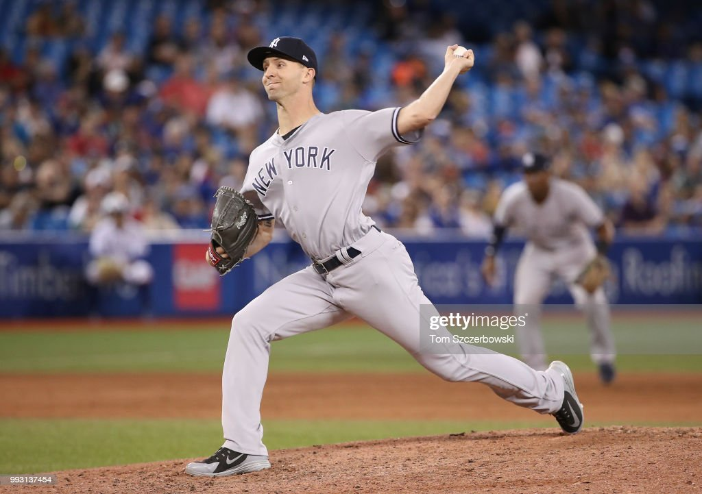 Chasen Shreve #45 of the New York Yankees delivers a pitch in the eighth inning during MLB game action against the Toronto Blue Jays at Rogers Centre on July 6, 2018 in Toronto, Canada.
