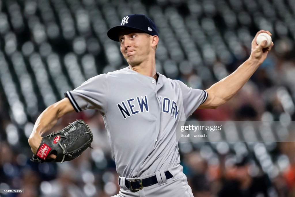 Chasen Shreve #45 of the New York Yankees pitches against the Baltimore Orioles during the ninth inning at Oriole Park at Camden Yards on July 11, 2018 in Baltimore, Maryland.