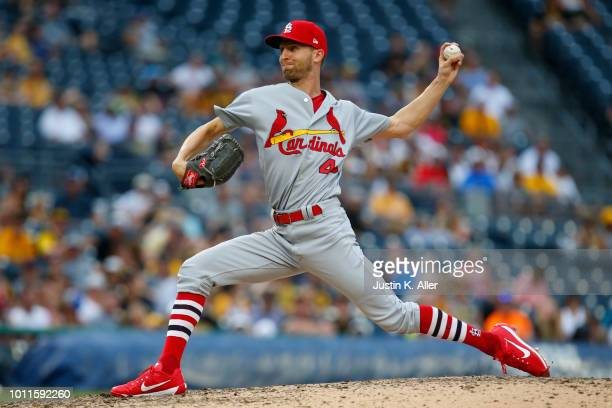 Chasen Shreve of the St Louis Cardinals pitches in the seventh inning against the Pittsburgh Pirates at PNC Park on August 5 2018 in Pittsburgh...