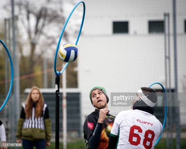 A Chaser tries to score during the European Cup in Warsaw Poland on April 13 2019 Quidditch is the semicontact sport based on the fictional game from...