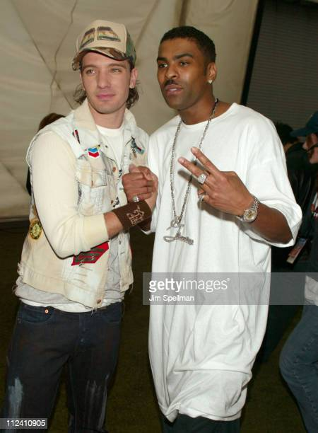 JC Chasez and Ginuwine during Z100's Zootopia 2003 Press Room at Giants Stadium in East Rutherford New Jersey United States