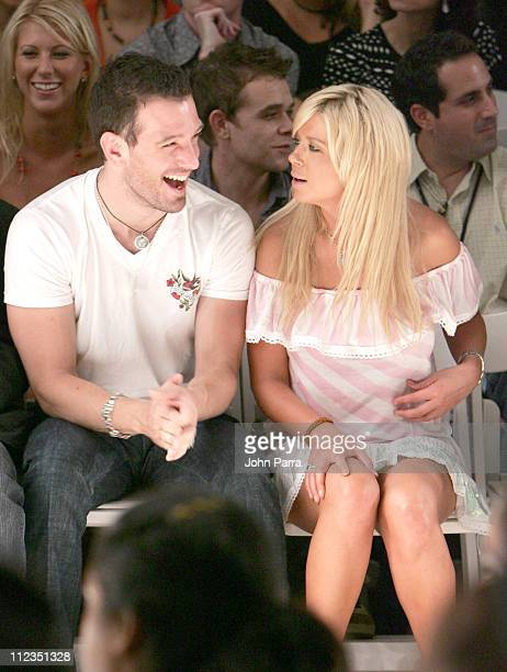 JC Chasez and Tara Reid during Olympus Fashion Week Spring 2006 Custo Barcelona Front Row and Backstage at The Plaza Bryant Park in New York City New...
