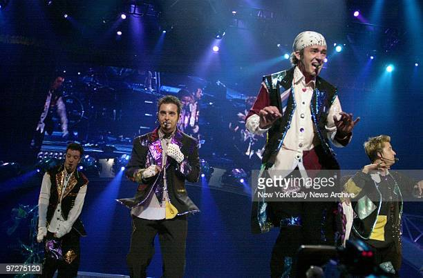 C Chasez Chris Kirkpatrick Justin Timberlake and Lance Bass of 'NSync perform onstage at Madison Square Garden