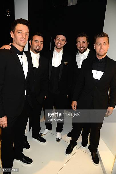 Chasez, Chris Kirkpatrick, Justin Timberlake, Joey Fatone, and Lance Bass of 'N Sync attend the 2013 MTV Video Music Awards at the Barclays Center on...