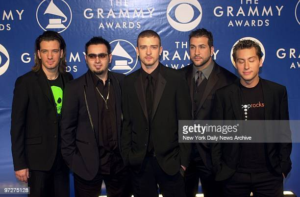 C Chasez Chris Kirkpatrick Justin Timberlake Joey Fatone and Lance Bass of 'NSync arrive at Madison Square Garden for the 45th Annual Grammy Awards