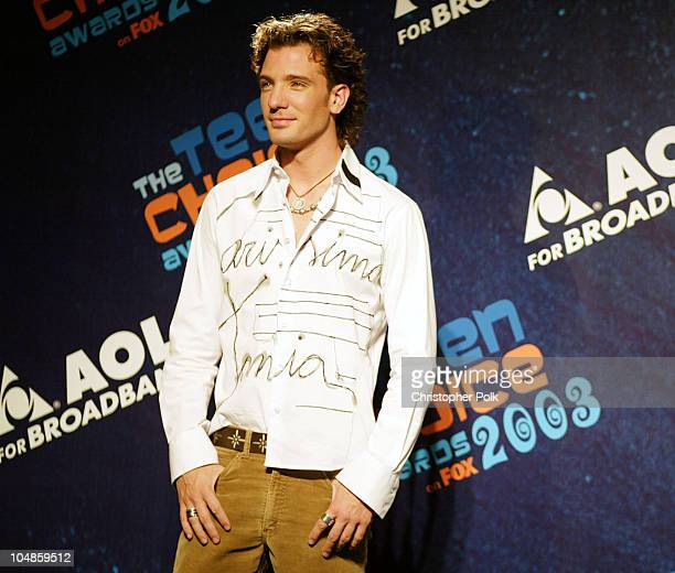 JC Chasez during 2003 Teen Choice Awards Press Room at Universal Amphitheater in Universal City California United States