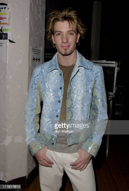JC Chasez of NSYNC during The 7th Annual Blockbuster Entertainment Awards Show and Backstage at Shrine Auditorium in Los Angeles California United...