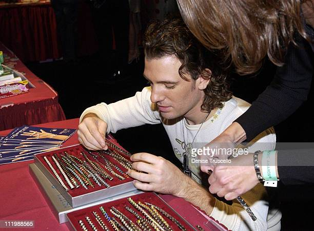 JC Chasez with Zoppini bracelets during 2002 Billboard Music Awards Backstage Creations Talent Retreat Show Day at MGM Grand Hotel in Las Vegas...
