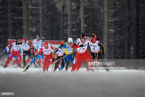 A chasing group in the Gundersen 10km Cross Country event during day two of the FIS Nordic Combined World Cup on January 3 2010 in Oberhof Germany