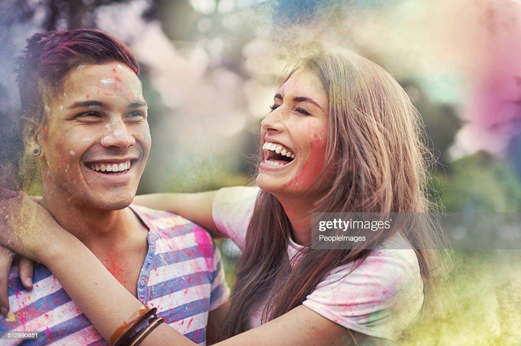 Chasing the rainbow : Stock Photo