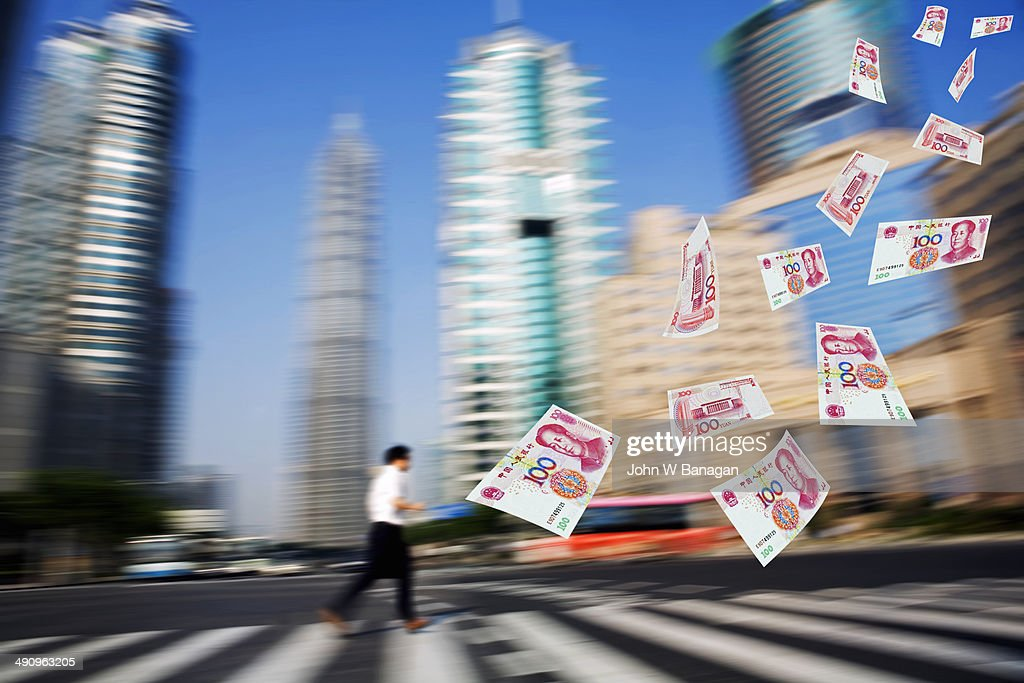 Chasing the Yuan, Shanghai : Stock Photo