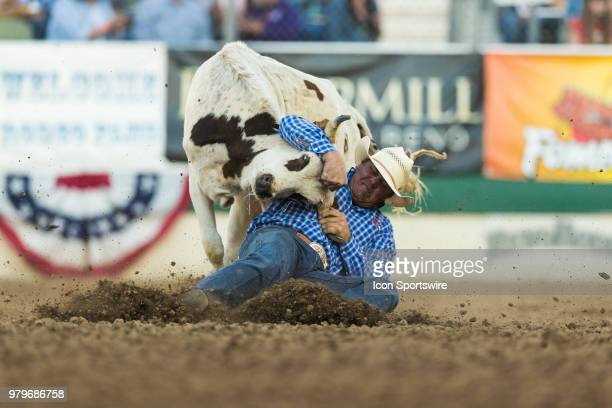 Chason Floyd during the Steer Wrestling event at the Reno Rodeo on Tuesday June 19 2018 at the Reno Livestock Events Center in Reno Nev
