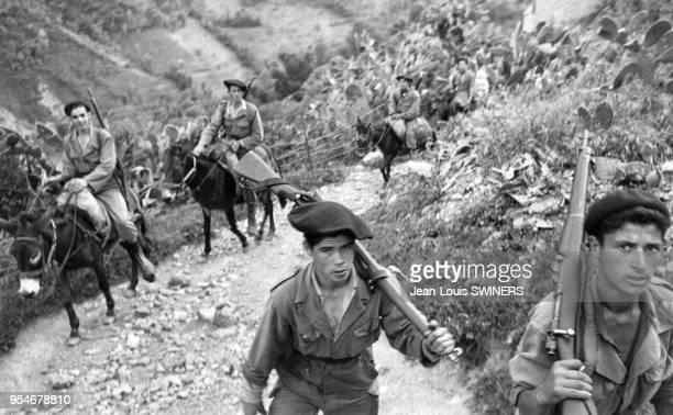 Chasseurs alpins de l'armée française et Harkis lors d'une expédition en 1959 pendant la guerre d'Algérie