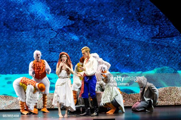Chassey Bennett performs on stage at the New Interactive Live Stage Show Of Disney's The Little Mermaid at the El Segundo Performing Arts Center on...