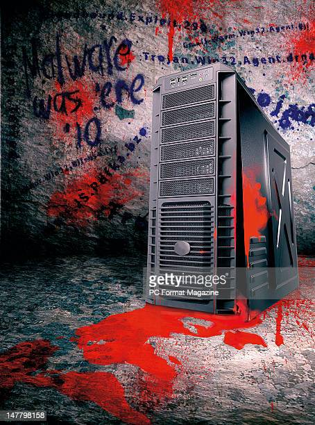 This image has been digitally manipulated A PC chassis defaced with graffiti to represent virus and malware problems taken on August 2 2011