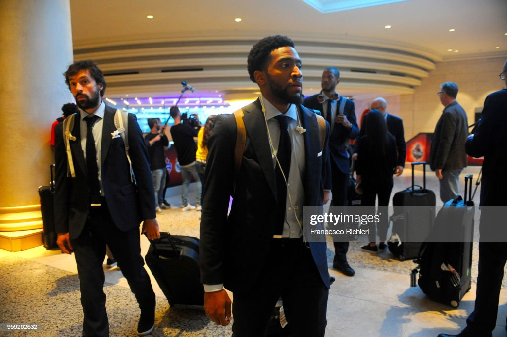 Chasson Randle, #2 of Real Madrid and Sergio Llull, #23 of Real Madrid during the Real Madrid arrival to participate of 2018 Turkish Airlines EuroLeague F4 at Hyatt Regency Hotel on May 16, 2018 in Belgrade, Serbia.