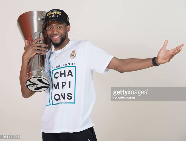 Chasson Randle #2 of Real Madrid poses during 2018 Turkish Airlines EuroLeague F4 Champion Photo Session with Trophy at Stark Arena on May 20 2018 in...