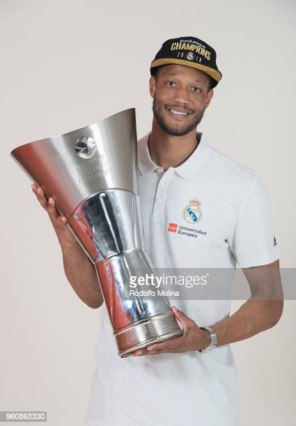 Chasson Randle #2 of Real Madrid poses during the 2018 Turkish Airlines EuroLeague F4 Champion Photo Session with Trophy at Stark Arena on May 20...