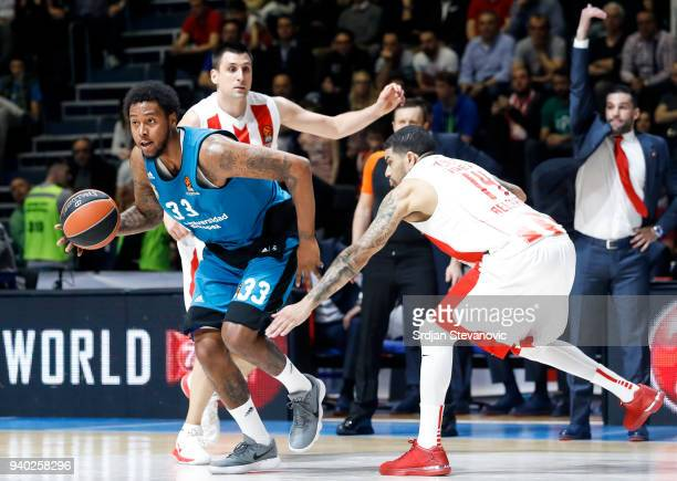 Chasson Randle of Real Madrid in action against James Feldeine of Crvena Zvezda during the 2017/2018 Turkish Airlines EuroLeague Regular Season game...