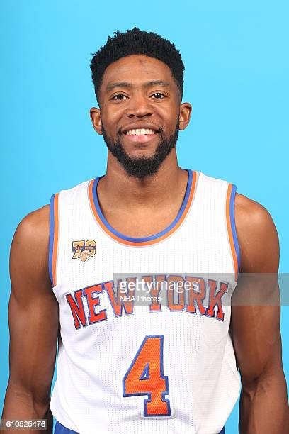Chasson Randle of the New York Knicks poses for a head shot during media day at the Ritz Carlton in White Plains New York on September 26 2016 NOTE...