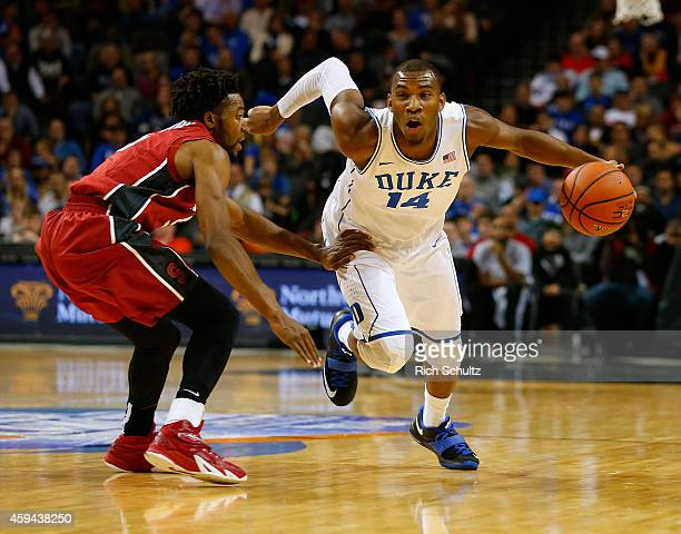 Chasson Randle of the Stanford Cardinal guards Rasheed Sulaimon of the Duke Blue Devils during the second half in the championship game in the...