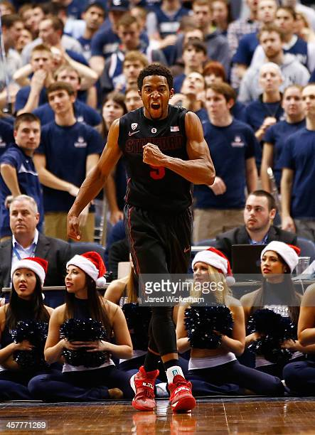 Chasson Randle of the Stanford Cardinal reacts following a basket and a foul in the second half against the Connecticut Huskies during the game at XL...