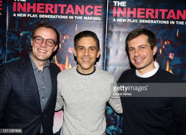 Chasten Buttigieg Playwright Matthew Lopez and Pete Buttigieg pose backstage at the hit play The Inhertance on Broadway at The Barrymore Theatre on...
