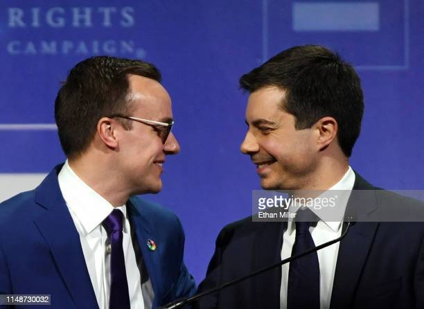 Chasten Glezman Buttigieg greets his husband, South Bend, Indiana Mayor Pete Buttigieg, after he delivered a keynote address at the Human Rights...