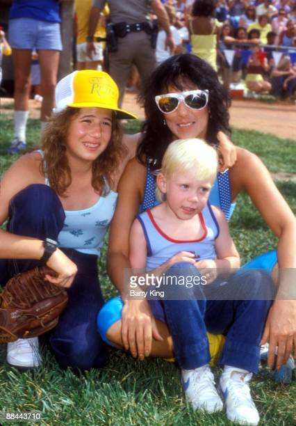 Chastity Bono Elijah Blue Allman mom Cher in Las Vegas Nevada on May 31 1981 at the Riviera 9th annual celebrity softball game