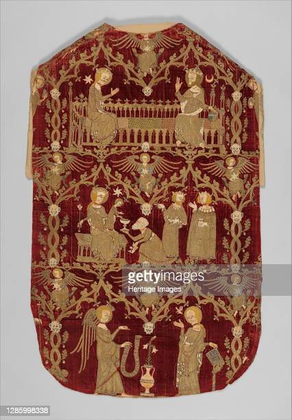 Chasuble , British, circa 1330-50. Coronation of the Virgin, the Adoration of the Magi, and the Annunciation Artist Unknown.