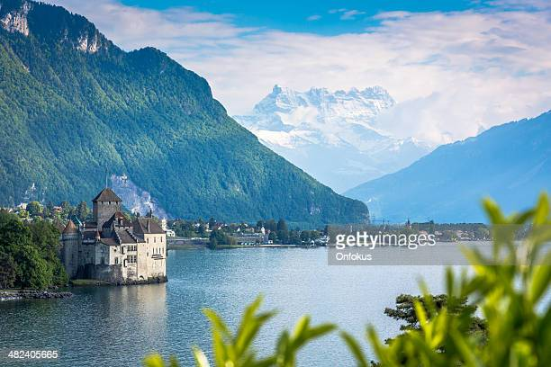chateau chillon, montreux, switzerland - montreux stock pictures, royalty-free photos & images